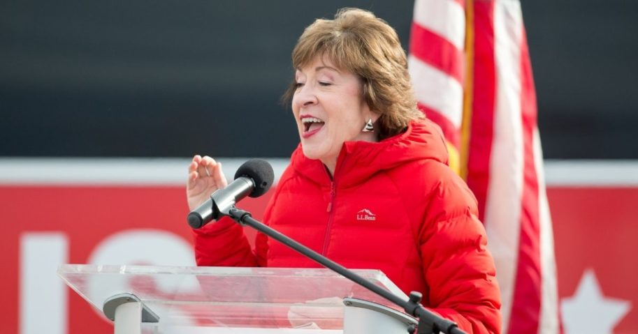 Sen. Susan Collins of Maine announces that her competitor conceded on Nov. 4, 2020, in Bangor, Maine.