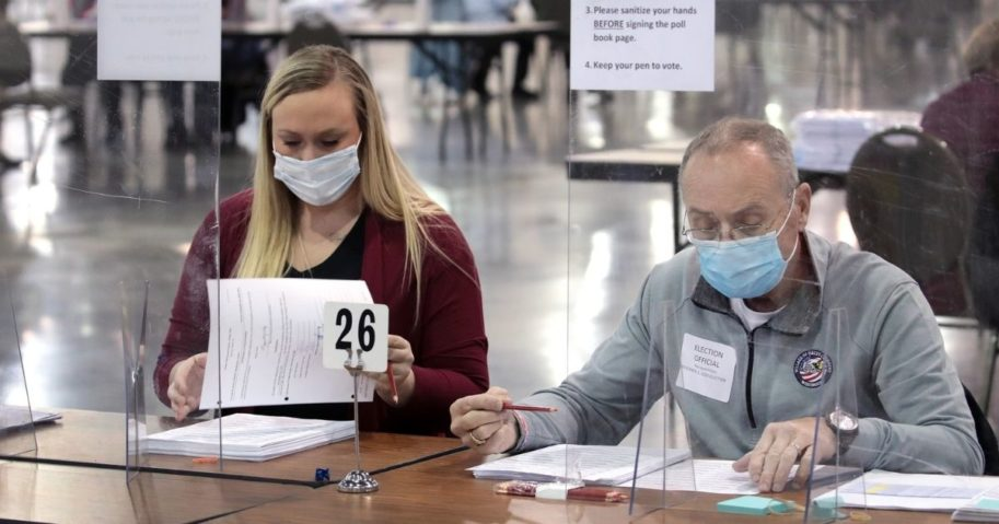 Election workers begin the recount of ballots from the Nov. 3 election on Nov. 20, 2020, in Milwaukee, Wisconsin.