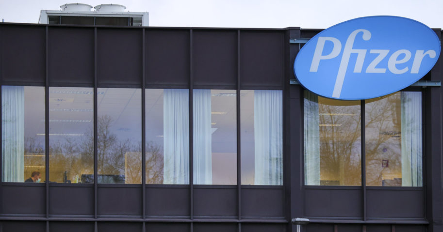 In this Dec. 4, 2020 file photo, the Pfizer Manufacturing plant is seen in Puurs, Belgium.