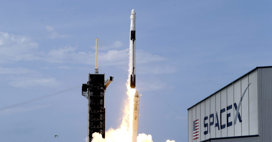 In this May 30, 2020, file photo, a SpaceX Falcon 9 carrying NASA astronauts Doug Hurley and Bob Behnken lifts off from the Kennedy Space Center in Cape Canaveral, Florida.