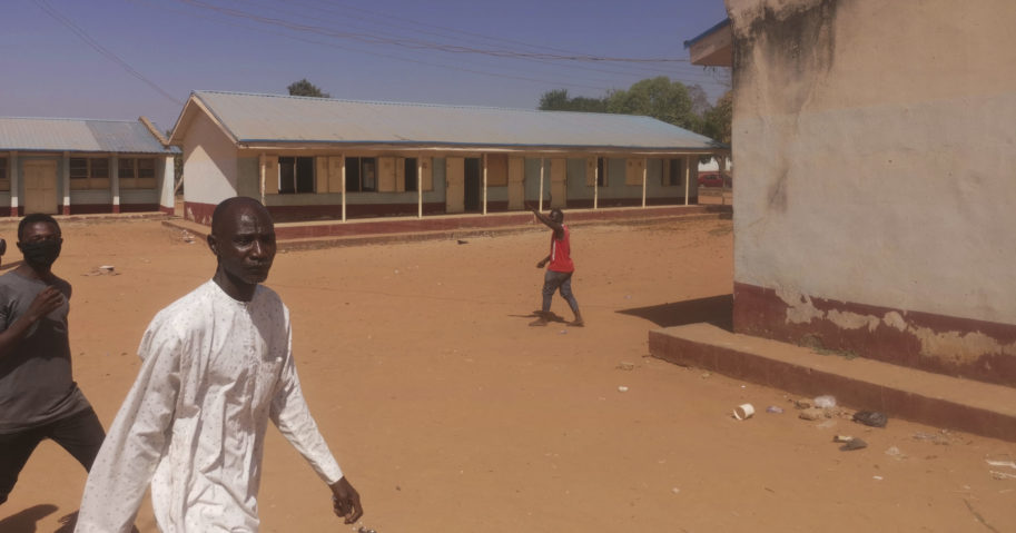 People gather at the Government Science Secondary School in Kankara, Nigeria, on Dec. 12, 2020.