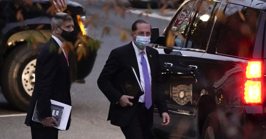 Health and Human Services Secretary Alex Azar leaves the White House on Dec. 1, 2020, in Washington, D.C.