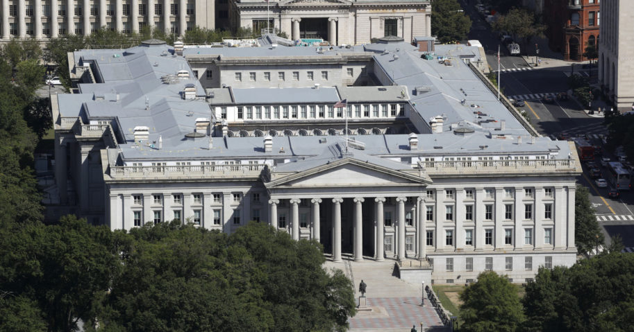 The US Treasury Department building is viewed from the Washington Monument on Sept. 18, 2019, in Washington, D.C.