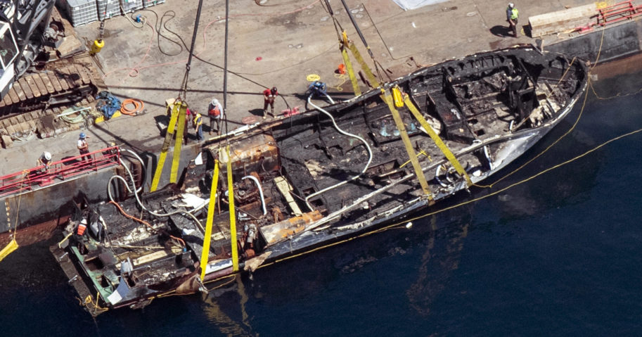 In this Sept. 12, 2019, file photo, the burned hull of the boat Conception is brought to the surface by a salvage team off Santa Cruz Island, California.