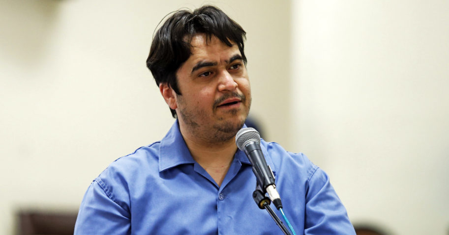 Journalist Ruhollah Zam speaks during his trial at the Revolutionary Court in Tehran, Iran, on June 2, 2020.