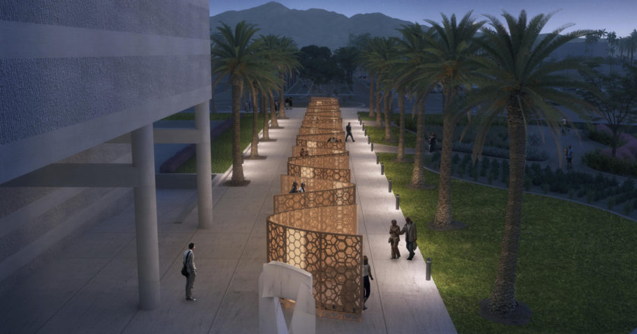 """A concept rendering shows a future memorial in honor of the victims of a terrorist attack that killed 14 people at a holiday party in San Bernardino, California. Plans were formally announced on Dec. 2, 2020, to build a """"Curtain of Courage"""" at the site of the shooting."""