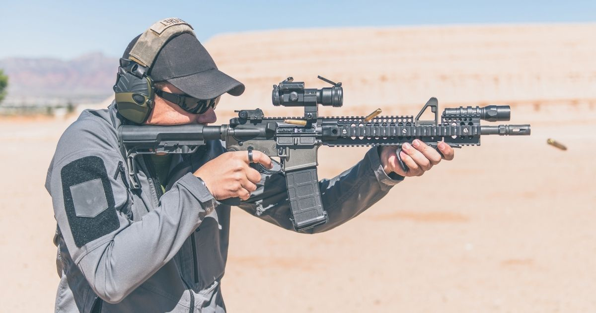A sportsman shoots an AR-15 in the stock image above.