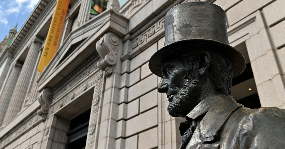 A statue of Abraham Lincoln stands outside the newly reopened New York Historical Society museum and library as the city continues Phase 4 of reopening following restrictions imposed to slow the spread of coronavirus on Sept. 12, 2020, in New York City.