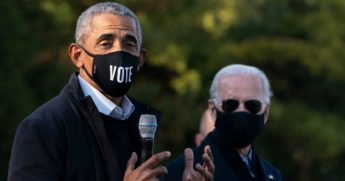 Former President Barack Obama and former Vice President Joe Biden make a stop at a canvass kickoff event at Birmingham Unitarian Church on Oct. 31, 2020, in Bloomfield Hills, Michigan.