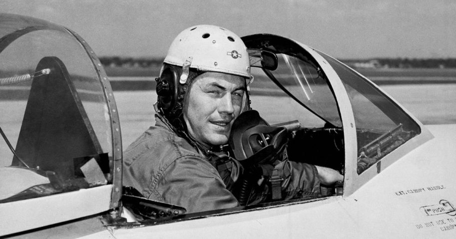 Chuck Yeager is seen in a jet's cockpit in 1948 when he was 25.
