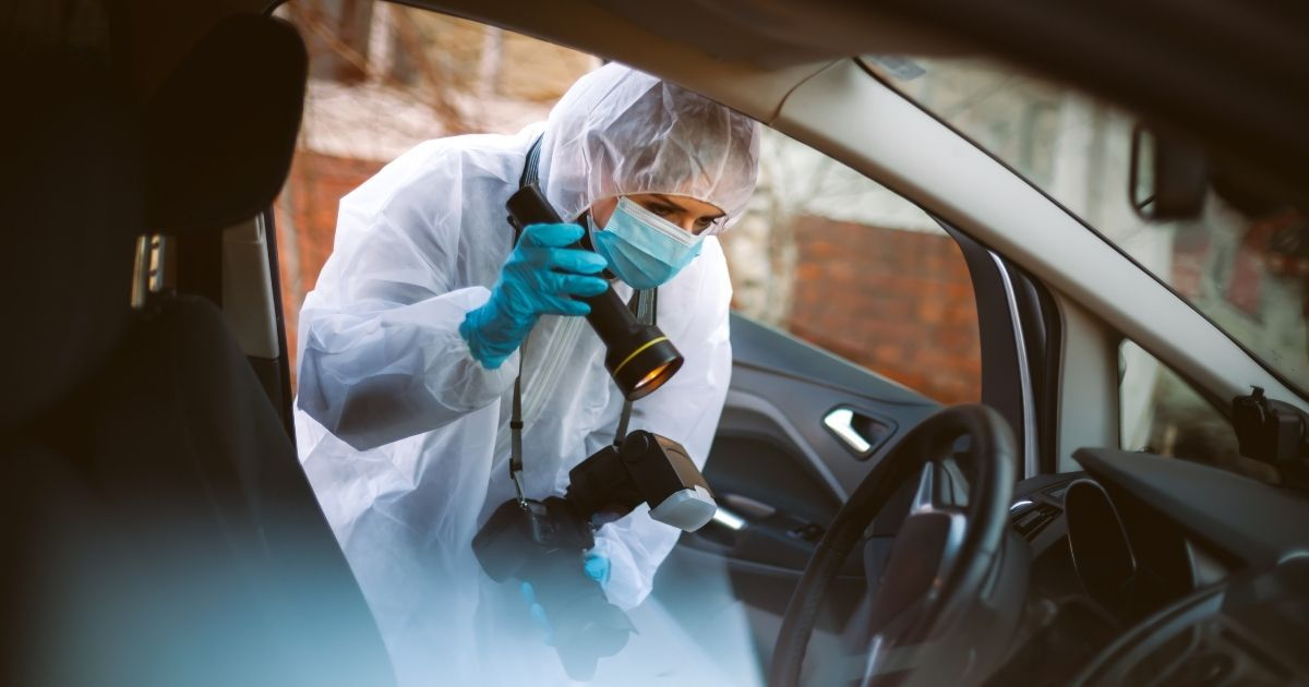 In this stock photo, a crime scene forensic worker examines a car interior.