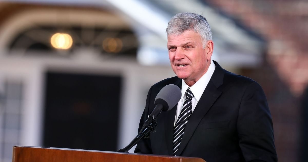 The Rev. Franklin Graham delivers the eulogy during the funeral of his father, the Rev. Billy Graham, on March 2, 2018, in Charlotte, North Carolina.