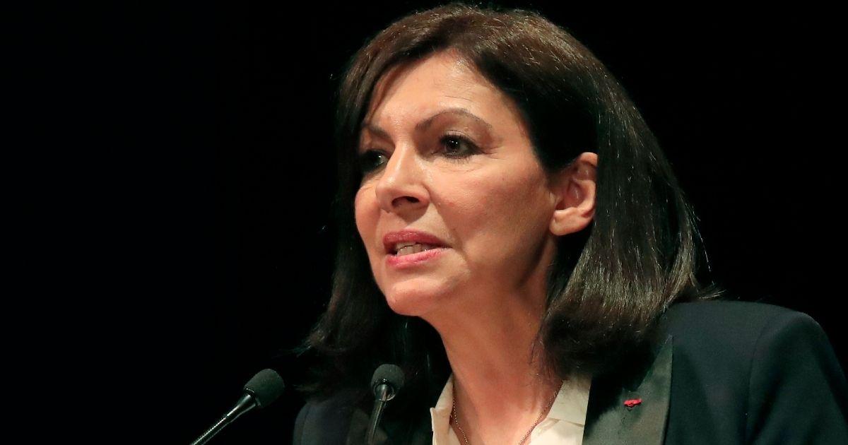 Mayor Anne Hidalgo speaks in Paris on March 2.
