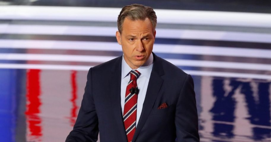 Jake Tapper speaks before the first of two Democratic presidential primary debates hosted by CNN on July 30, 2019, at the Fox Theatre in Detroit.