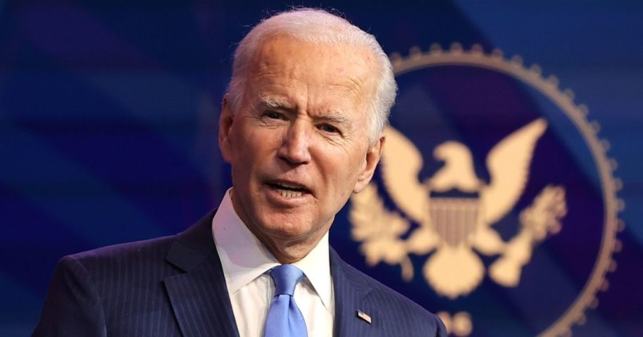 President-elect Joe Biden speaks at the Queen Theater in Wilmington, Delaware, on Dec. 11.
