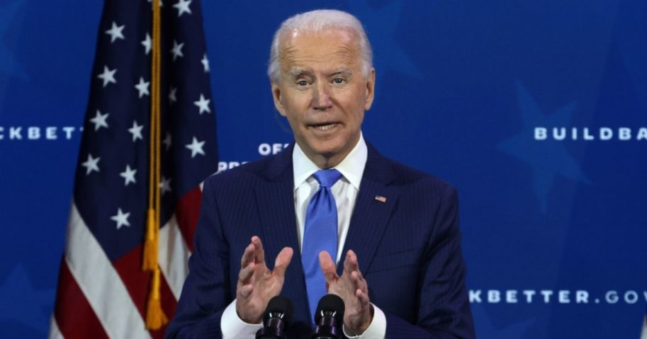 Presumptive president-elect Joe Biden speaks during an event to name his economic team at the Queen Theater in Wilmington, Delaware, on Tuesday.