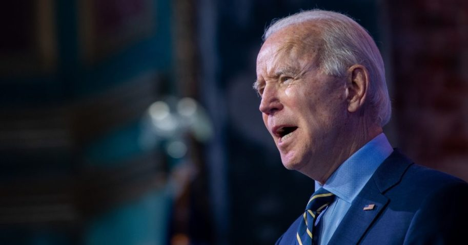 Joe Biden delivers remarks at the Queen Theater on Monday in Wilmington, Delaware.