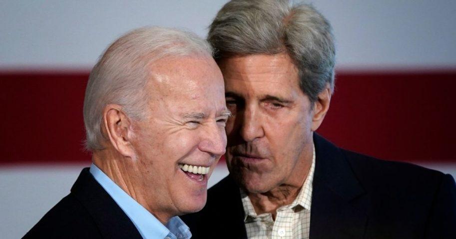Former Vice president Joe Biden, left, campaigns with former Democratic presidential candidate John Kerry on Dec. 6, 2019, in Cedar Rapids, Iowa.
