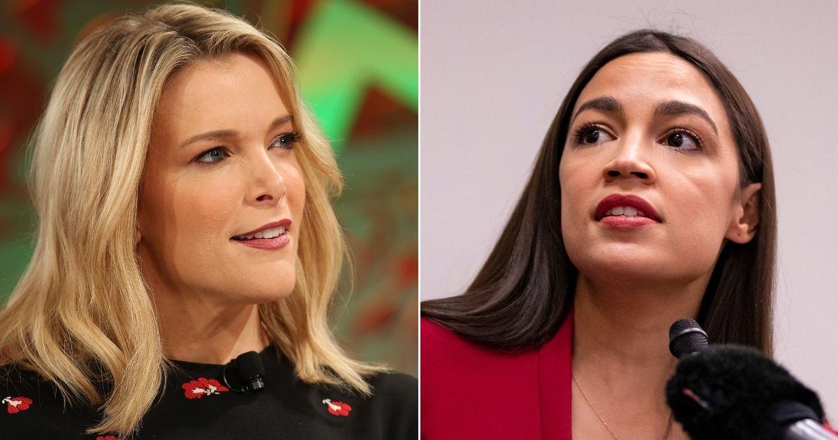 Megyn Kelly, left, and New York Rep. Alexandria Ocasio-Cortez, right