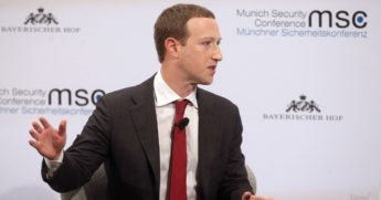 Facebook founder and CEO Mark Zuckerberg speaks during a panel talk at the 2020 Munich Security Conference (MSC) on Feb. 15 in Munich, Germany.