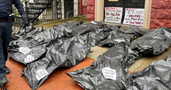Republican senators who have rejected COVID relief packages that are the brainchild of House Speaker Nancy Pelosi were targeted in a protest Tuesday in which body bags were left at their doors.