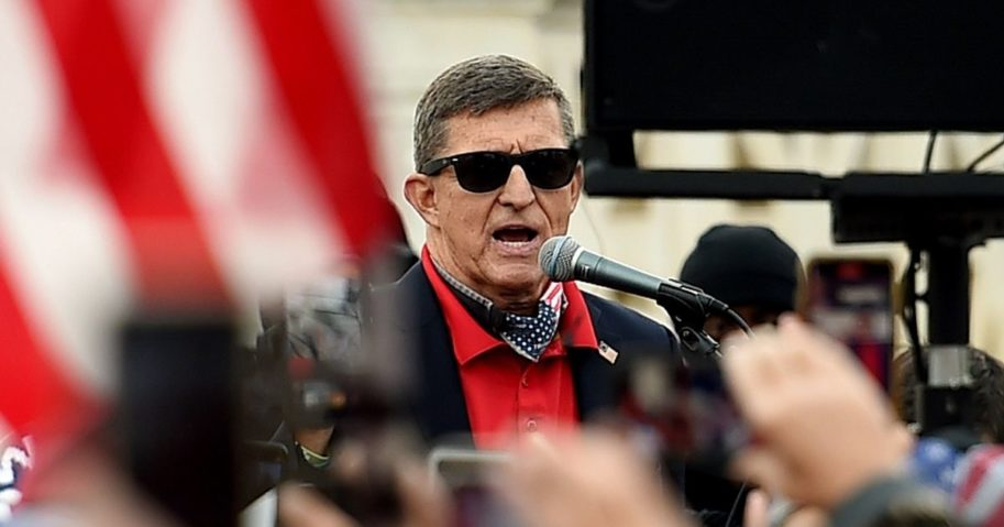 Former National Security Advisor Michael Flynn speaks to supporters of President Donald Trump during the Million MAGA March to protest the likely outcome of the 2020 presidential election in front of the U.S. Supreme Court on Saturday in Washington, D.C.