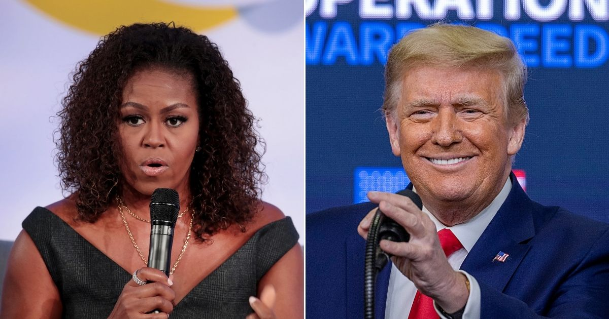 Former first lady Michelle Obama, left, and President Donald Trump are pictured above.