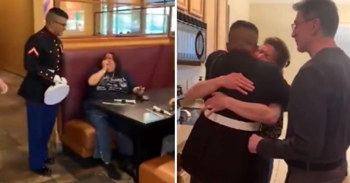 Marine Daniel Ceballos surprises his mother, Monica Cabrera, at a restaurant.