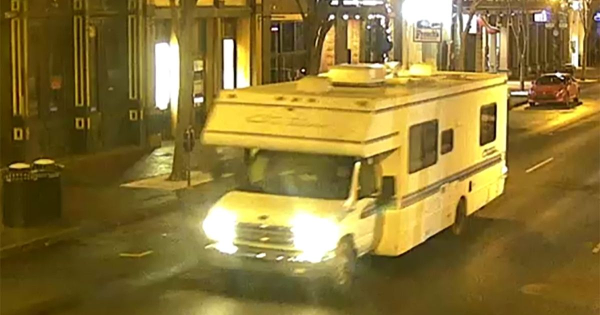 In this handout image provided by the Metro Nashville Police Department, a screen shot of surveillance footage shows the recreational vehicle suspected of being used in the Christmas day bombing Friday in Nashville, Tennessee.