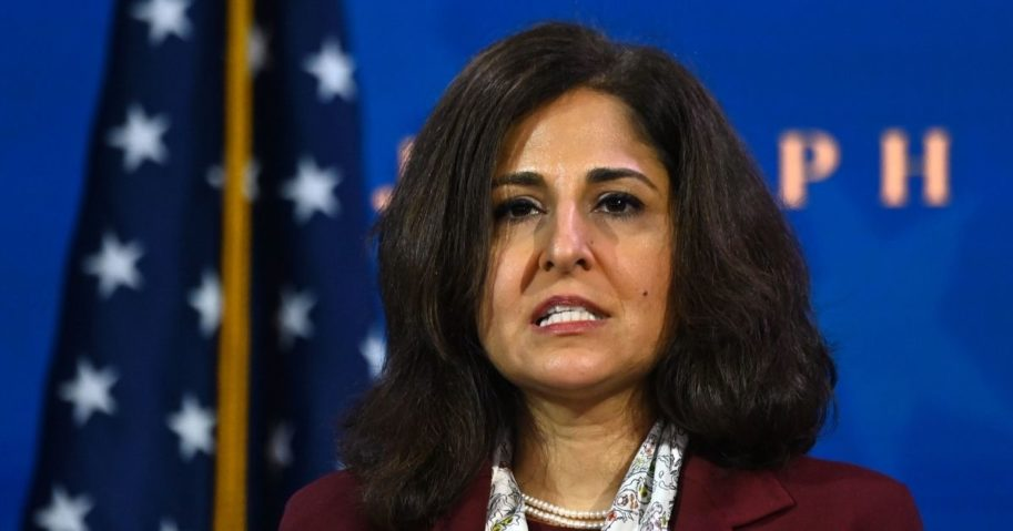 Office of Management and Budget nominee Neera Tanden speaks after presumptive president-elect Joe Biden announced his economic team at The Queen Theatre in Wilmington, Delaware, on Tuesday.