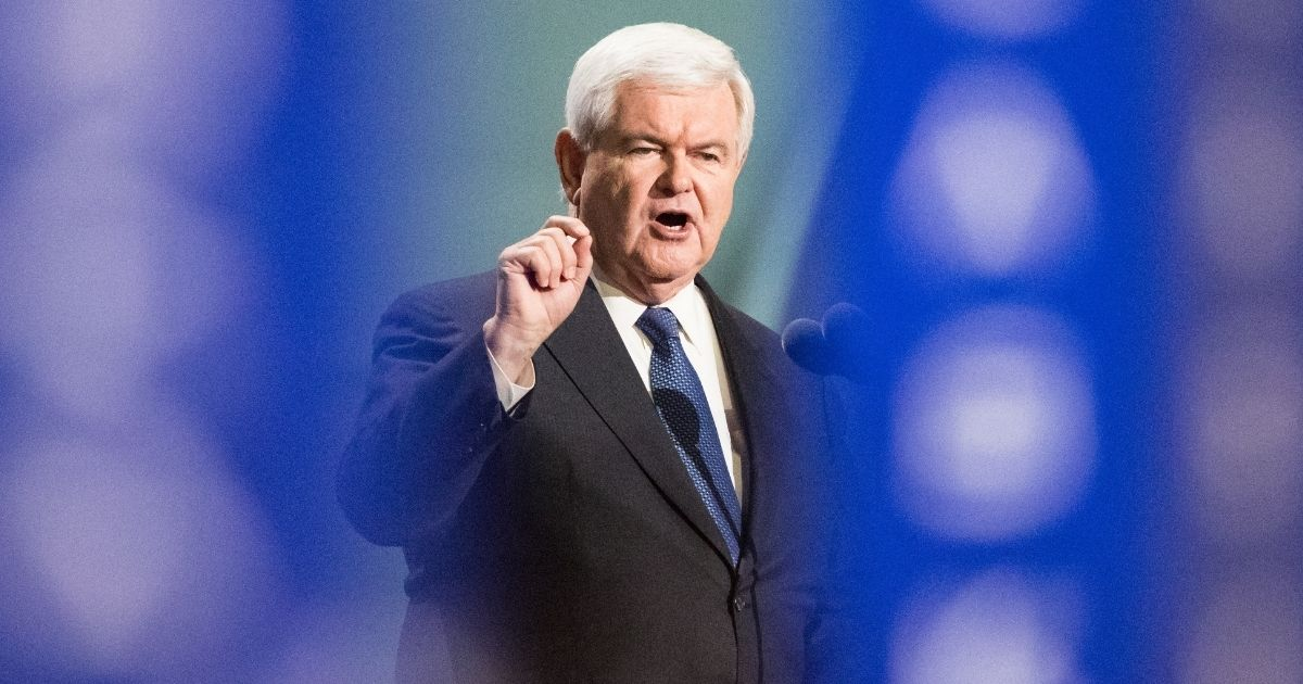 Former Speaker of the House Newt Gingrich delivers a speech on the third day of the Republican National Convention on July 20, 2016, at Quicken Loans Arena in Cleveland, Ohio.