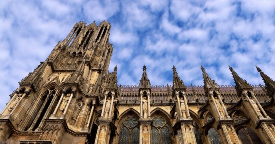 The south tower of Notre-Dame de Reims, a Roman Catholic cathedral built in the French Gothic architectural style and dedicated to the Virgin Mary, on October 5, 2019 in Reims, the largest city of the Champagne production region of eastern France.