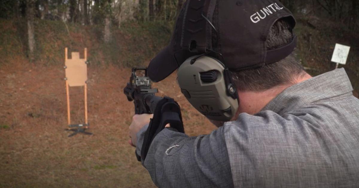 Ryan Gresham demonstrates the brace on a Springfield Armory SAINT AR pistol on Gun Talk Media in 2018.