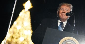 President Donald Trump speaks during the annual lighting of the National Christmas tree