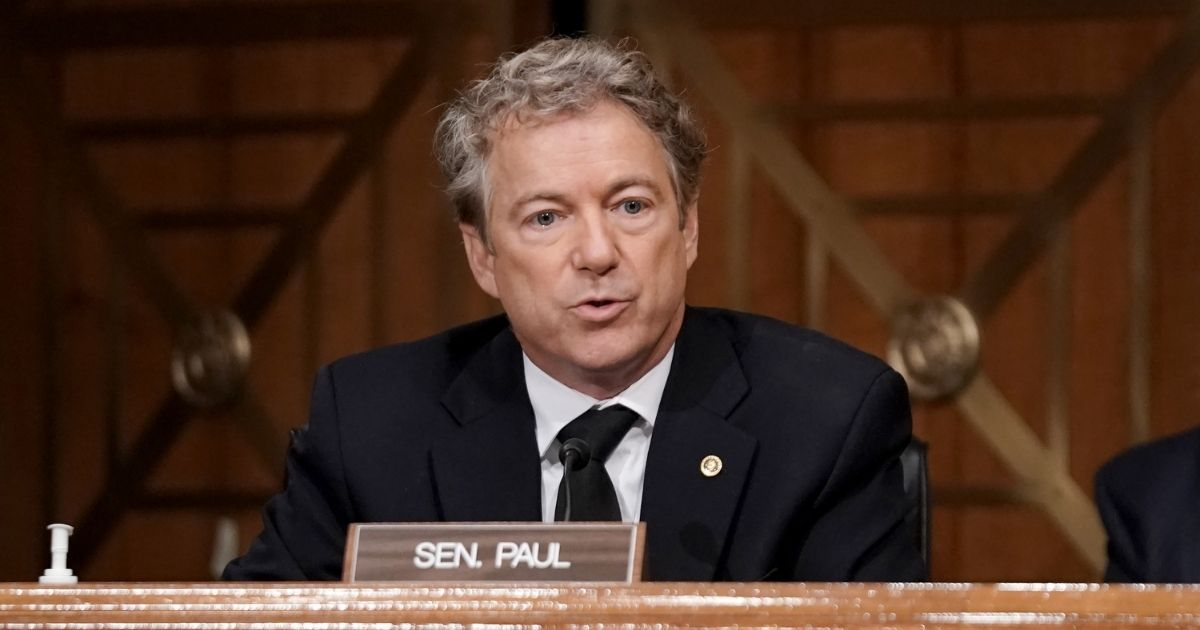 Sen. Rand Paul asks questions during a Senate Homeland Security and Governmental Affairs Committee hearing to discuss election security and the 2020 election process on Dec. 16, 2020, in Washington, D.C.
