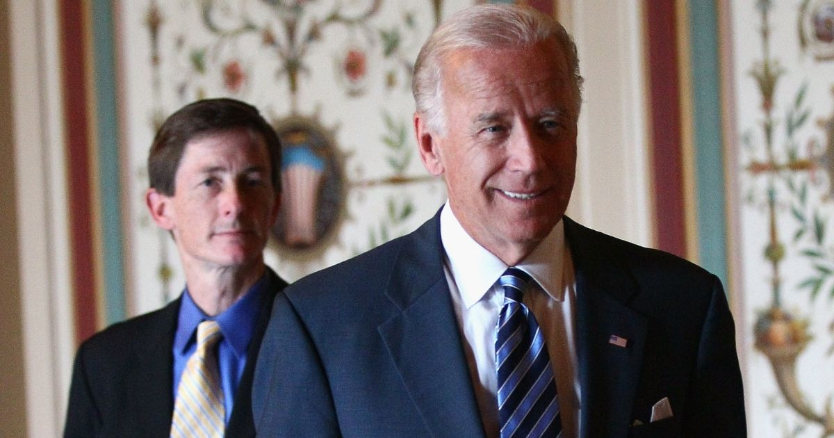 Then-Vice President Joseph Biden, right, arrives for a meeting with his chief of staff, Bruce Reed, on Capitol Hill in Washington on June 22, 2011.