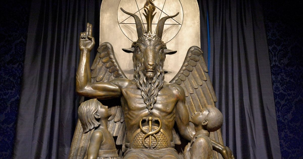 The Baphomet statue is seen in the conversion room at the Satanic Temple in Salem, Massachusetts, on Oct. 8, 2019.