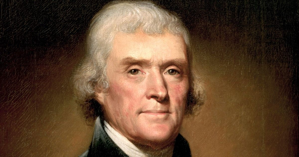 An 1853 portrait of Thomas Jefferson by Rembrandt Peale (oil on canvas from the White House collection, Washington, D.C.), is seen above.