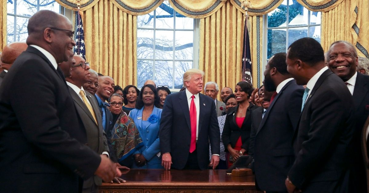 President Donald Trump meets with representatives of historically black colleges and universities in the Oval Office of the White House on Feb. 27, 2017.