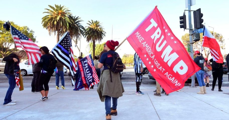 Supporters of President Donald Trump hold a rally on Veteran's Day in Los Angeles on Nov. 11, 2020.
