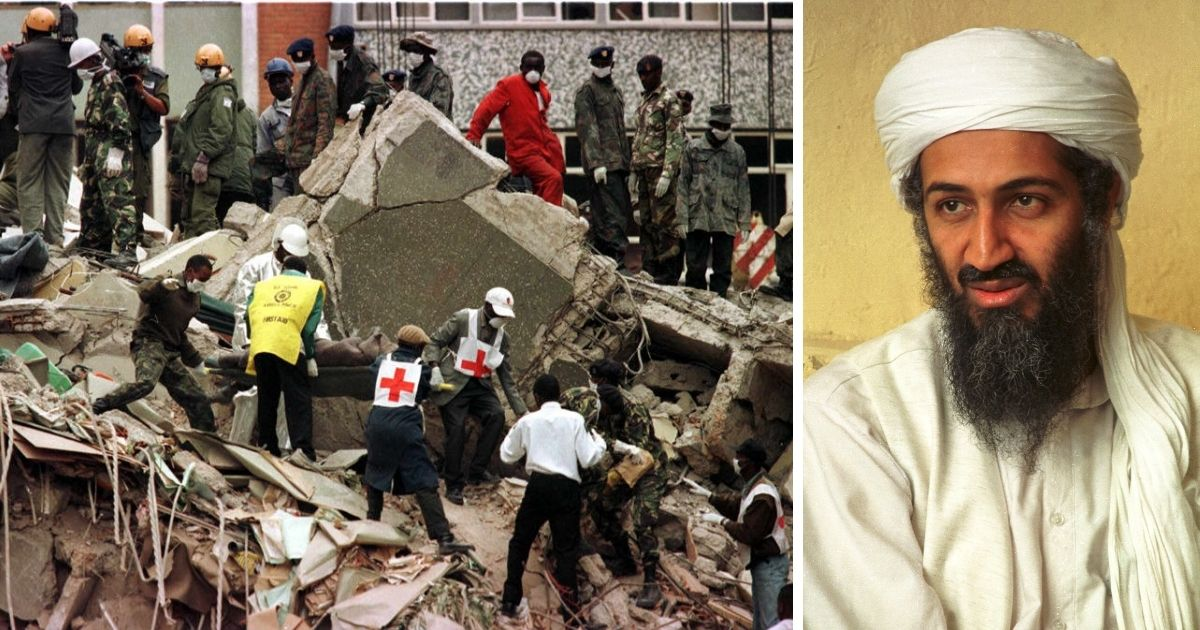 Embassy bombing scene in 1998, left; terror leader Osama bin Laden, right.