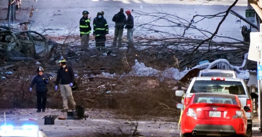 Investigators work on Saturday at the scene of the Christmas Day explosion in Nashville, Tennessee.