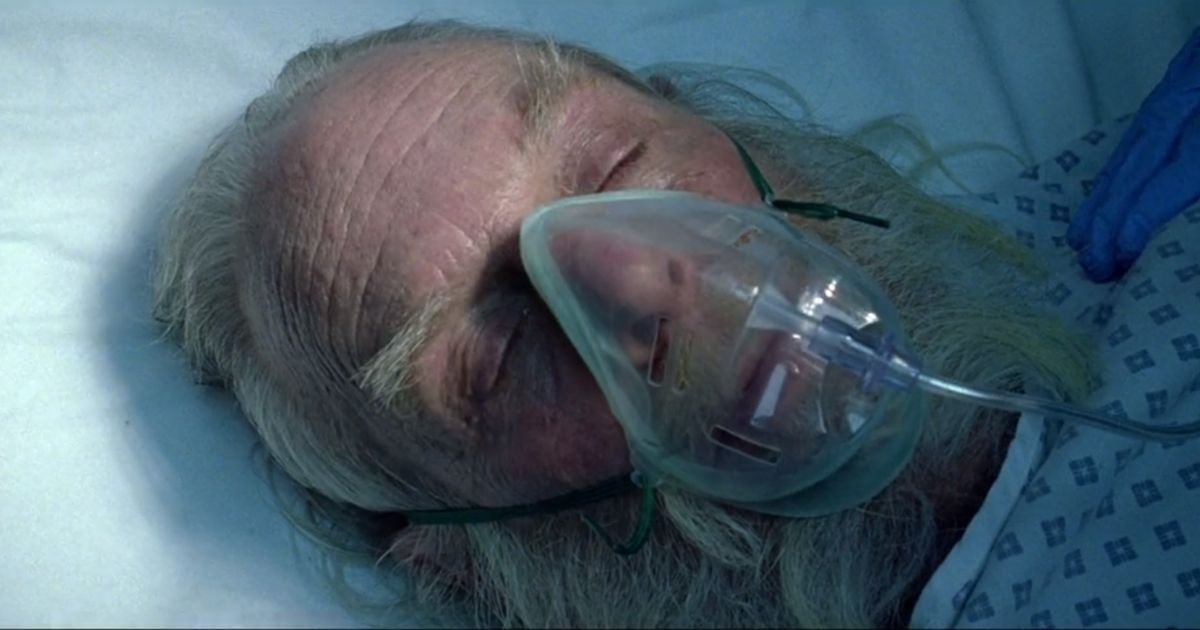 A gravely ill 'Santa' receives oxygen in the hospital as part of a Christmas television ad from Great Britain's National Health Service.