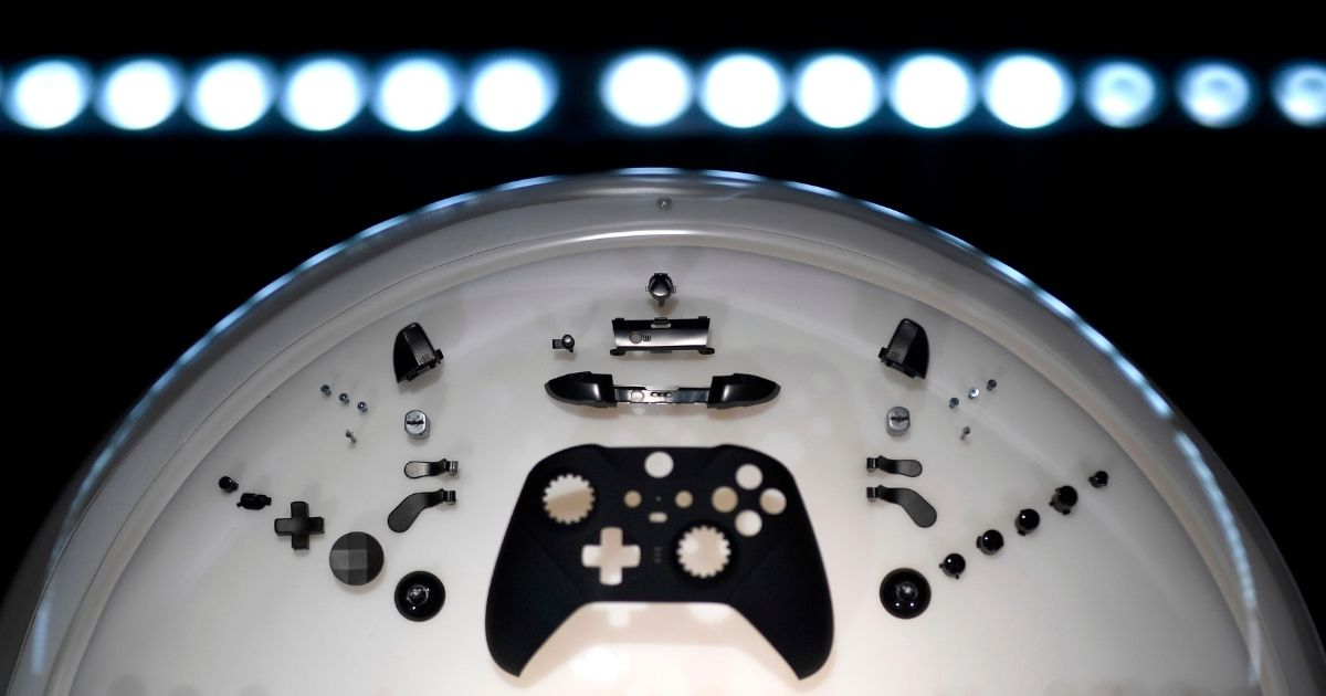 A disassembled controller is seen at the Xbox stand during media day of the Gamescom video games trade fair in Cologne, Germany, on Aug. 20, 2019.