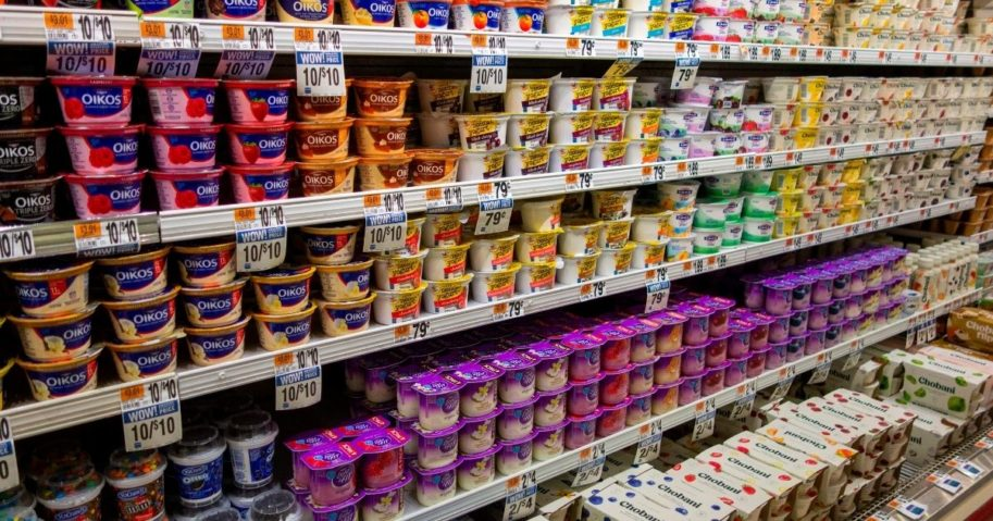 Several brands of yogurt fill the shelves at a grocery store on Jan. 10, 2019, in New Rochelle, New York.