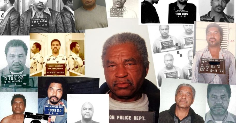 Serial killer Samuel Little is seen in a composite image showing multiple mug shots from 1966-95.