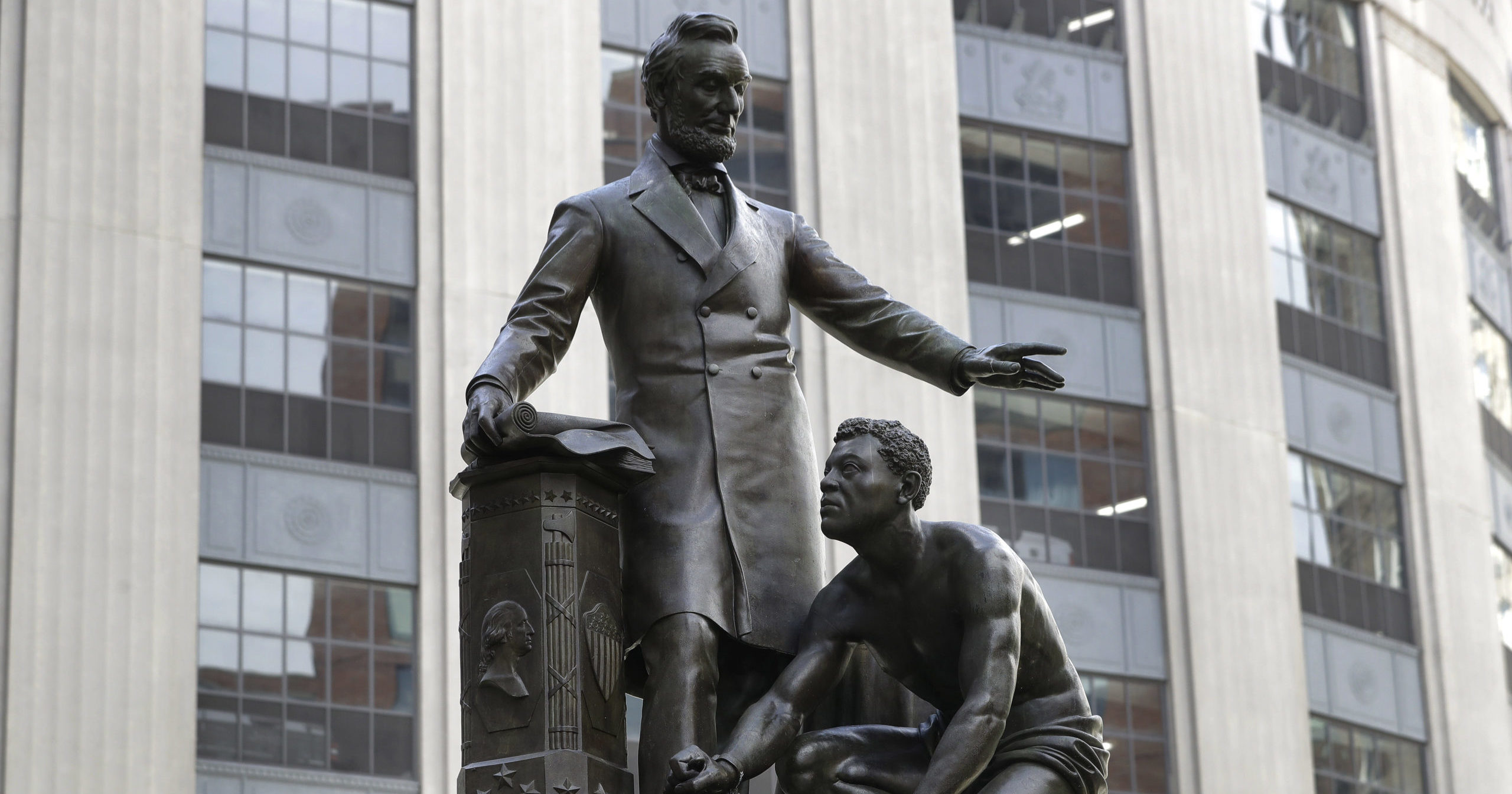 A statue depicting a freed slave kneeling at President Abraham Lincoln's feet is seen in Boston on June 25, 2020.