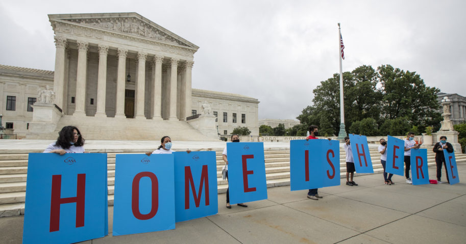In this June 18, 2020, file photo, students protected from deportation by the Deferred Action for Childhood Arrivals program gather in front of the Supreme Court in Washington, D.C.