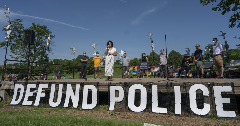 In this June 7, 2020, file photo, City Council Member Alondra Cano speaks during a meeting at Powderhorn Park on June 7, 2020, in Minneapolis.