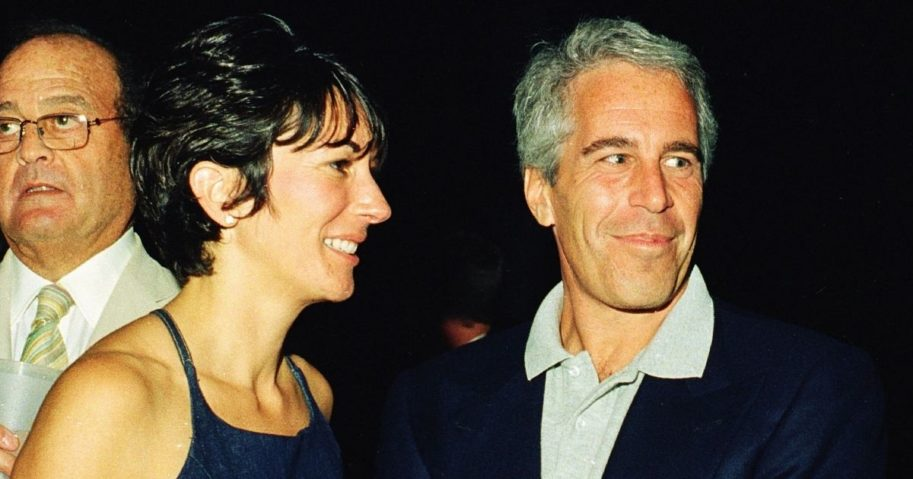 Ghislaine Maxwell and Jeffrey Epstein attend a party in Palm Beach, Florida, on Feb. 12, 2000.